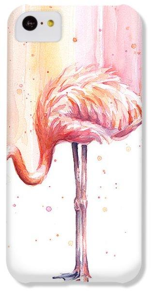 Flamingo iPhone 5c Case - Pink Flamingo Watercolor Rain by Olga Shvartsur