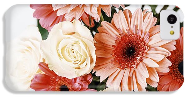 Pink Gerbera Daisy Flowers And White Roses Bouquet IPhone 5c Case by Radu Bercan