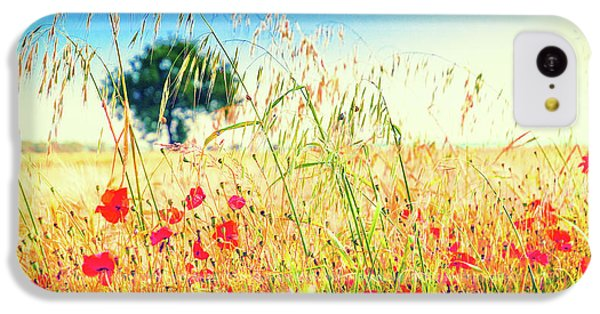 IPhone 5c Case featuring the photograph Poppies With Tree In The Distance by Silvia Ganora