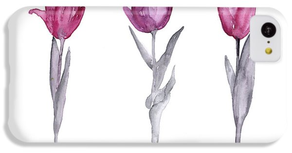 Purple Tulips Watercolor Painting IPhone 5c Case