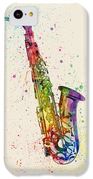 Saxophone iPhone 5c Case - Saxophone Abstract Watercolor by Michael Tompsett