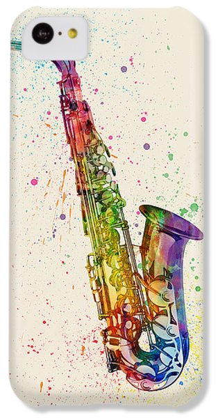 Musical iPhone 5c Case - Saxophone Abstract Watercolor by Michael Tompsett