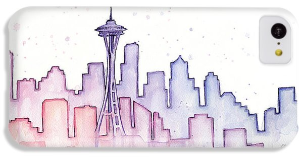 Seattle Skyline Watercolor IPhone 5c Case