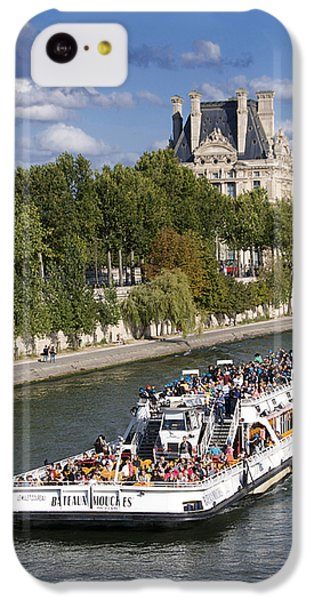 Louvre iPhone 5c Case - Sightseeing Boat On River Seine To Louvre Museum. Paris by Bernard Jaubert