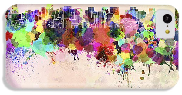Tokyo Skyline In Watercolor Background IPhone 5c Case by Pablo Romero