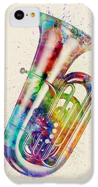 Musical iPhone 5c Case - Tuba Abstract Watercolor by Michael Tompsett