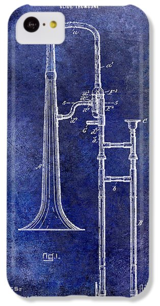 1902 Trombone Patent Blue IPhone 5c Case by Jon Neidert