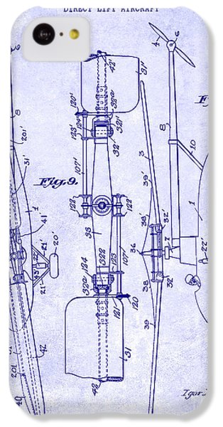 1935 Helicopter Patent Blueprint IPhone 5c Case by Jon Neidert