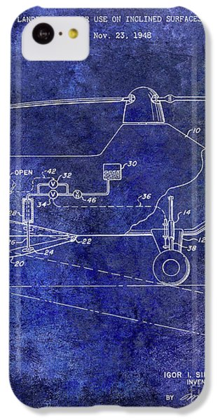 1953 Helicopter Patent Blue IPhone 5c Case by Jon Neidert