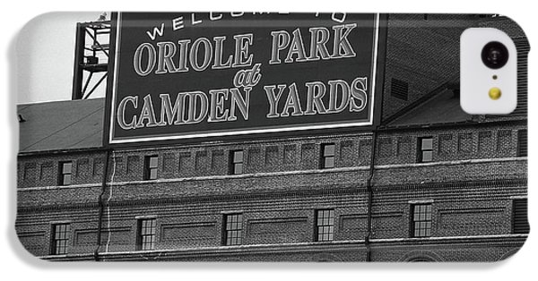 Oriole iPhone 5c Case - Baltimore Orioles Park At Camden Yards Bw by Frank Romeo