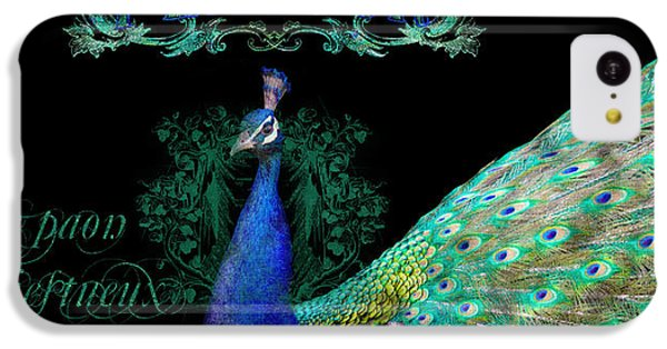 Elegant Peacock W Vintage Scrolls  IPhone 5c Case