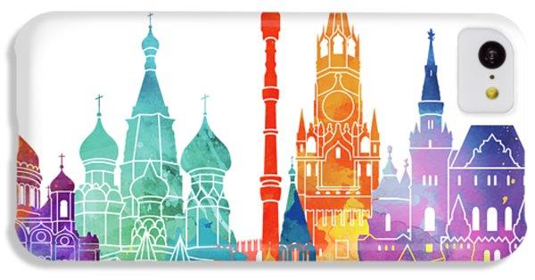 Moscow Skyline iPhone 5c Case - Paris Landmarks Watercolor Poster by Pablo Romero