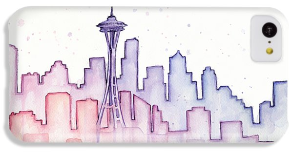 Seattle Skyline Watercolor IPhone 5c Case by Olga Shvartsur