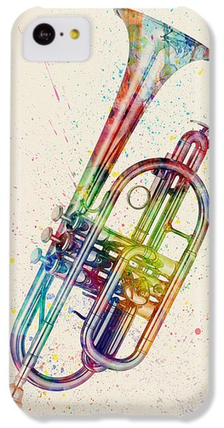 Musical iPhone 5c Case - Cornet Abstract Watercolor by Michael Tompsett