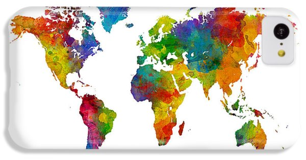 Planets iPhone 5c Case - Map Of The World Map Watercolor by Michael Tompsett