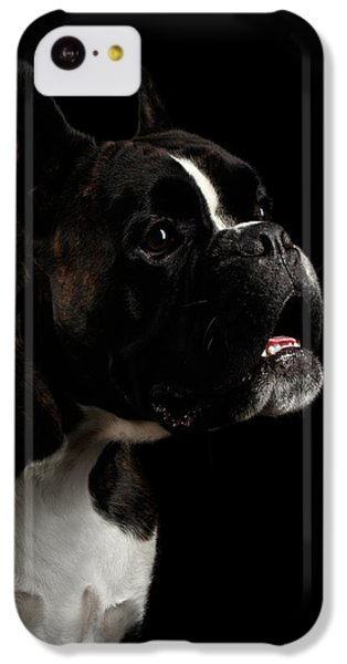 Dog iPhone 5c Case - Purebred Boxer Dog Isolated On Black Background by Sergey Taran