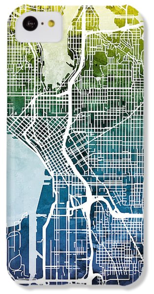 Seattle Washington Street Map IPhone 5c Case by Michael Tompsett
