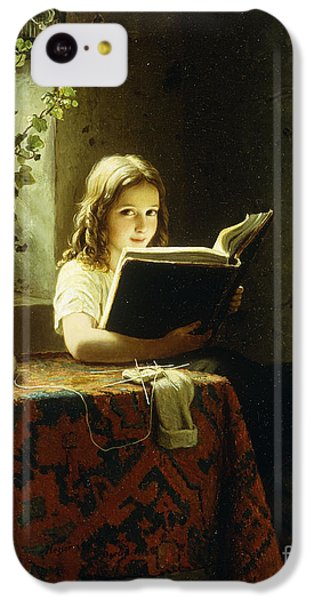 A Girl Reading IPhone 5c Case by Johann Georg Meyer