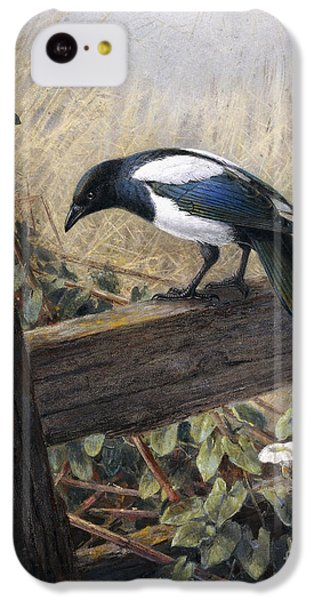 Magpies iPhone 5c Case - A Magpie Observing Field Mice by Johan Gerard Keulemans