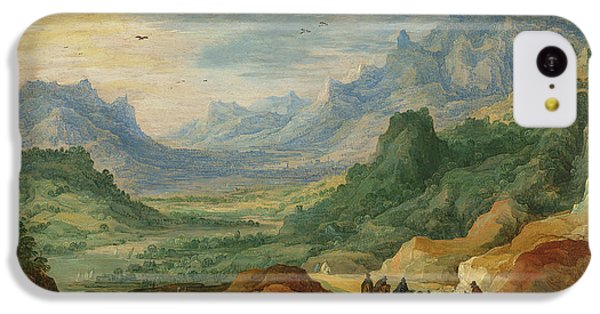 A Mountainous Landscape With Travellers And Herdsmen On A Path IPhone 5c Case by Jan Brueghel and Joos de Momper