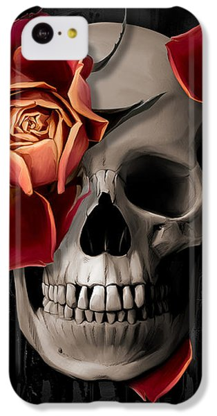 Floral iPhone 5c Case - A Rose On The Skull by Canvas Cultures