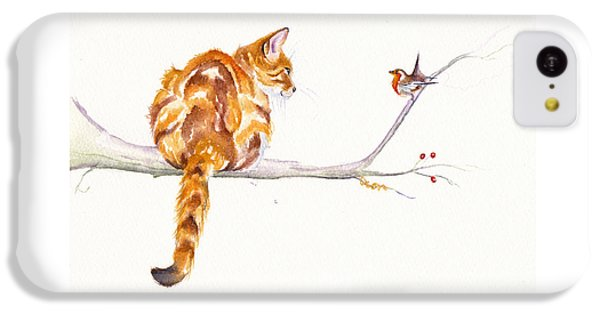 Cat iPhone 5c Case - A Winter Meeting by Debra Hall