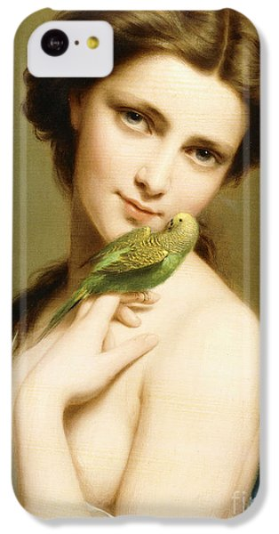 Parakeet iPhone 5c Case - A Young Beauty With A Parakeet by Fritz Zuber-Buhler