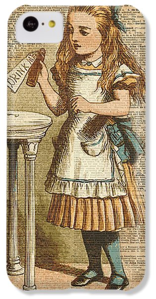 Alice In Wonderland Drink Me Vintage Dictionary Art Illustration IPhone 5c Case by Jacob Kuch