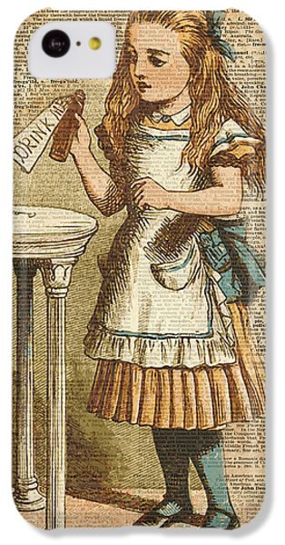 Fantasy iPhone 5c Case - Alice In Wonderland Drink Me Vintage Dictionary Art Illustration by Anna W