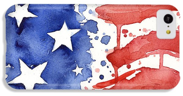 Landmarks iPhone 5c Case - American Flag Watercolor Painting by Olga Shvartsur