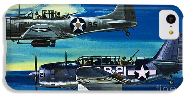 American Ww2 Planes Douglas Sbd1 Dauntless And Curtiss Sb2c1 Helldiver IPhone 5c Case by Wilf Hardy