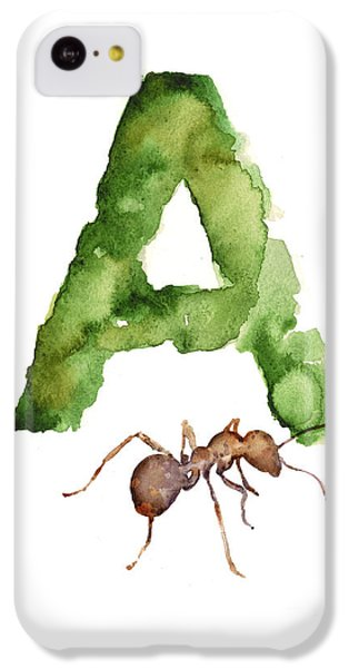 Ant iPhone 5c Case - Ant Watercolor Alphabet Painting by Joanna Szmerdt