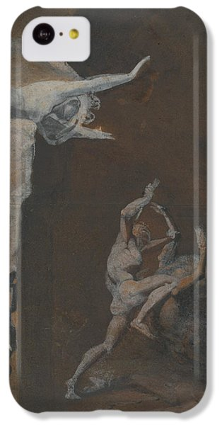 Minotaur iPhone 5c Case - Ariadne Watching The Struggle Of Theseus With The Minotaur by Henry Fuseli