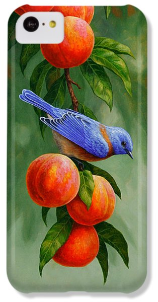Bluebird iPhone 5c Case - Bird Painting - Bluebirds And Peaches by Crista Forest