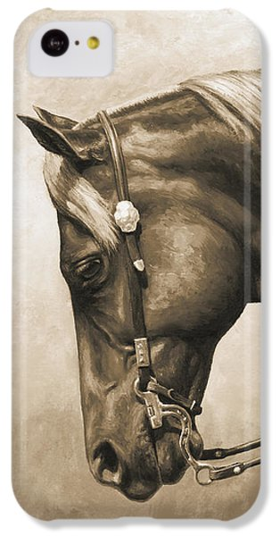 Horse iPhone 5c Case - Western Horse Painting In Sepia by Crista Forest