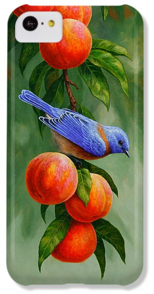 Bluebird And Peaches Greeting Card 1 IPhone 5c Case by Crista Forest