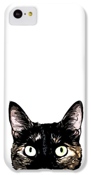Cats iPhone 5c Case - Peeking Cat by Nicklas Gustafsson