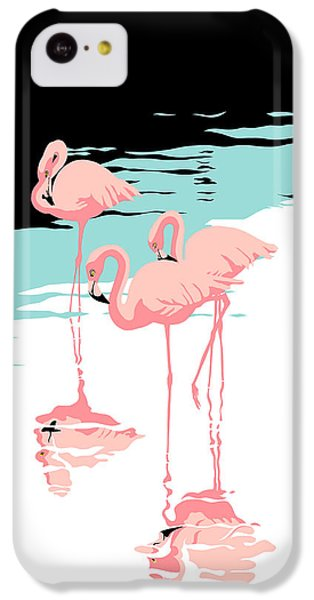 Flamingo iPhone 5c Case - Pink Flamingos Tropical 1980s Abstract Pop Art Nouveau Graphic Art Retro Stylized Florida Print by Walt Curlee