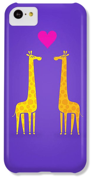 Valentines Day iPhone 5c Case - Cute Cartoon Giraffe Couple In Love Purple Edition by Philipp Rietz