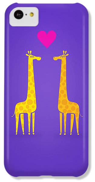 Cute Cartoon Giraffe Couple In Love Purple Edition IPhone 5c Case