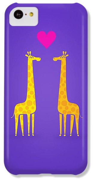 Cute Cartoon Giraffe Couple In Love Purple Edition IPhone 5c Case by Philipp Rietz