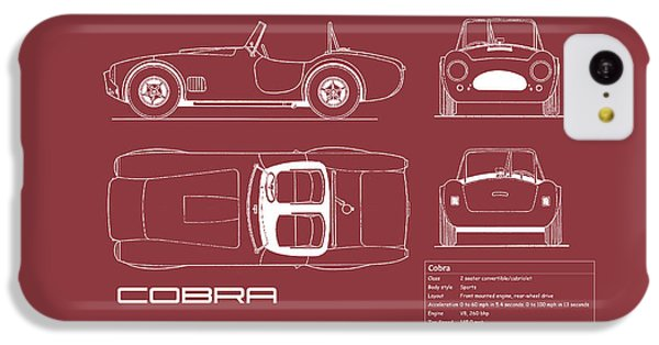 Ac Cobra Blueprint - Red IPhone 5c Case by Mark Rogan