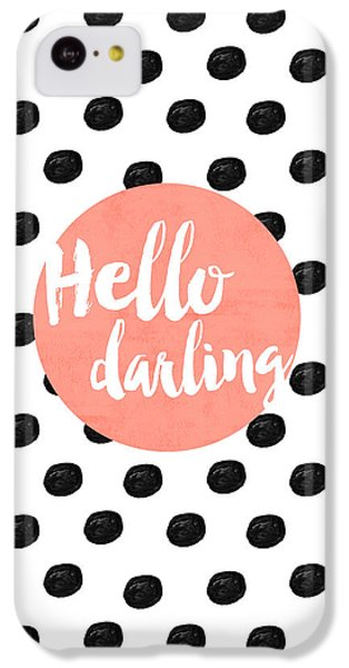 Hello Darling Coral And Dots IPhone 5c Case by Allyson Johnson