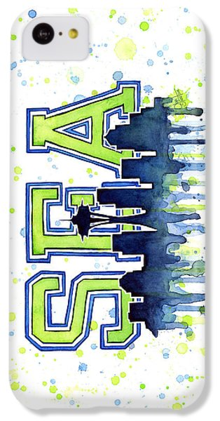 Seattle iPhone 5c Case - Seattle Watercolor 12th Man Art Painting Space Needle Go Seahawks by Olga Shvartsur