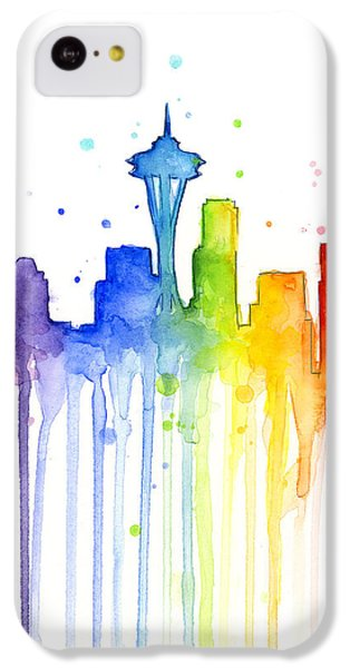 Seattle Rainbow Watercolor IPhone 5c Case by Olga Shvartsur