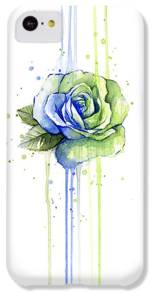 Seattle iPhone 5c Case - Seattle 12th Man Seahawks Watercolor Rose by Olga Shvartsur