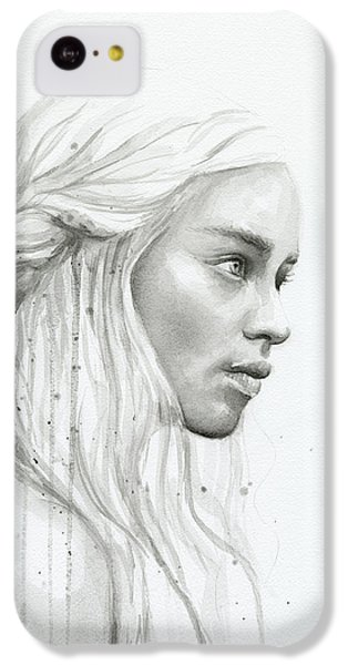 Dragon iPhone 5c Case - Daenerys Watercolor Portrait by Olga Shvartsur