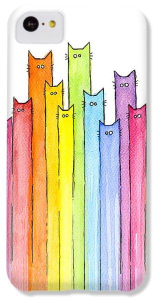 Cat iPhone 5c Case - Cat Rainbow Watercolor Pattern by Olga Shvartsur