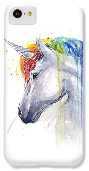 Horse iPhone 5c Case - Unicorn Rainbow Watercolor by Olga Shvartsur