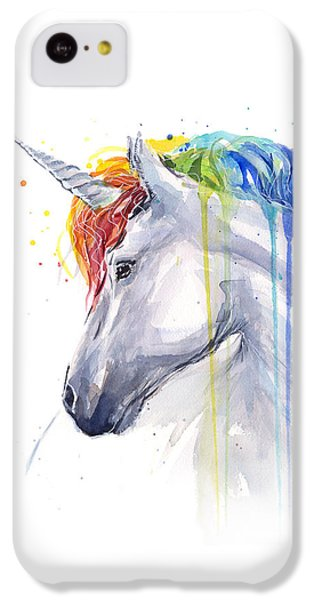 Magician iPhone 5c Case - Unicorn Rainbow Watercolor by Olga Shvartsur